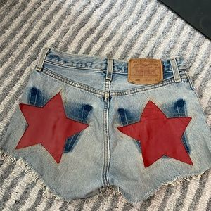 Red leather star jean shorts